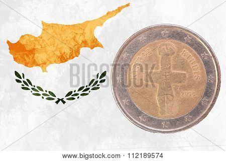 Cypriot Two Euros Coin With Flag Of Cyprus As Background