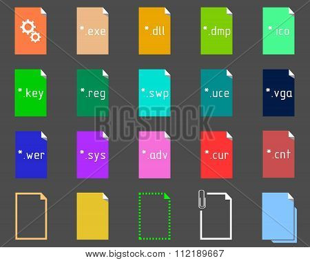 Set of System File Extension icons