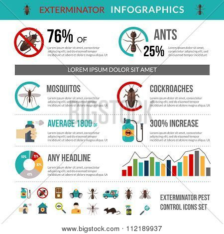 Exterminator Pest Control Infographics Layout Banner