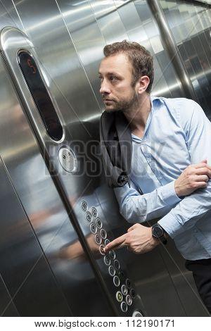 Businessman in the elevator