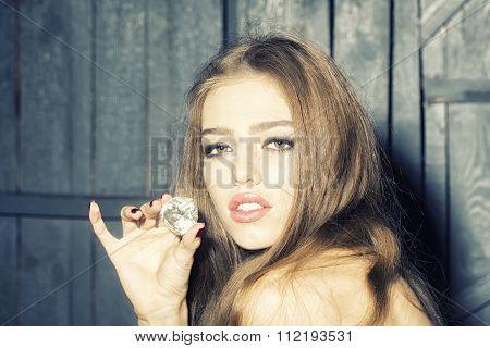 Pretty Woman With Precious Gem