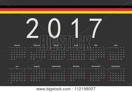 German Black 2017 Year Vector Calendar