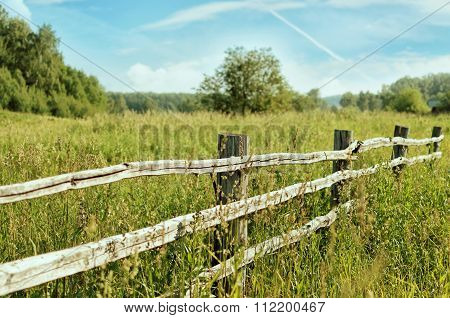 Field Of Grass And A Fence