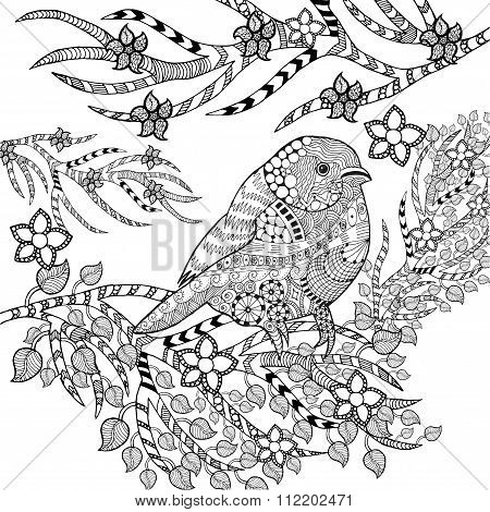 Zentangle stylized tropical bird in flower garden
