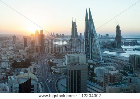 Manama City At Sunset, Bahrain