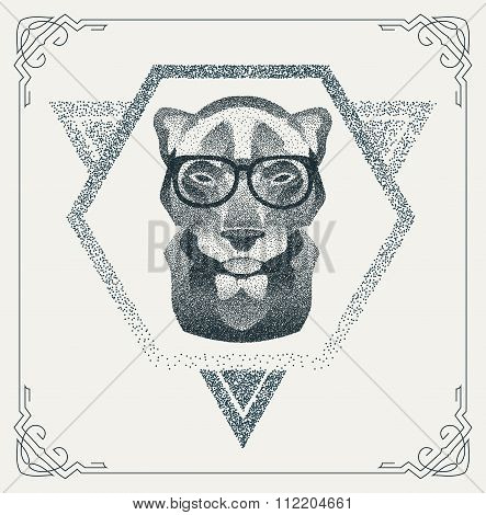 Halftone hipster Panther with black Dots. Vector Illustration.