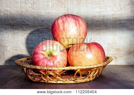 Apples In A Basket Light In A Window