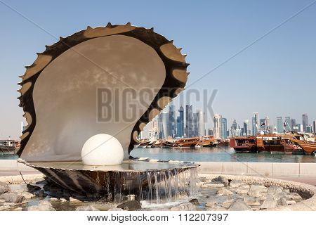 Pearl Fountain In Doha, Qatar