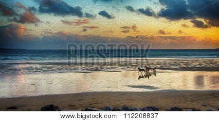 Oil Painting Showing Horse By The Beach In The West Of Ireland