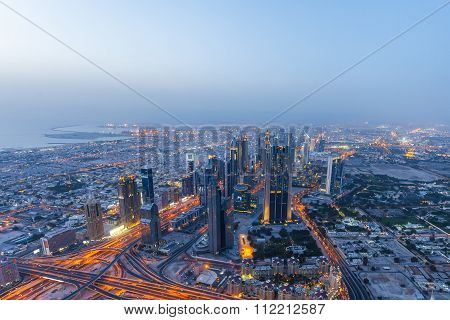 Night View Of Dubai From Burj Khalifa.dubai