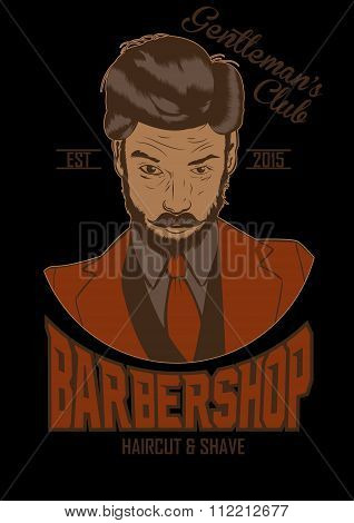 illustration of barber man. vector. barber shop poster
