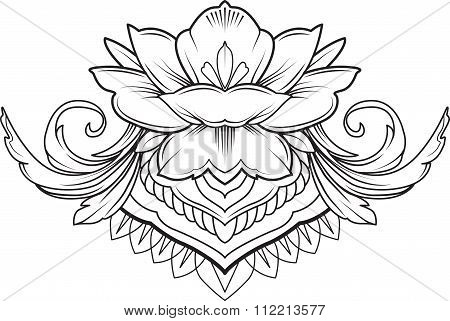Filigree lotus flower, black vector