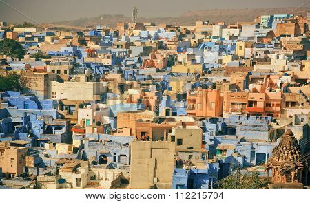 Cityscape Of Indian City With Colorful Constructions In Simple Asian Style In India
