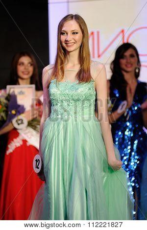 Orel, Russia - December 20, 2015: Miss Orel 2015 Beauty Contest. Vice-miss Orel 2015 Svetlana Antono