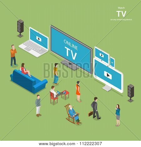 Streaming TV isometric flat vector illustration.