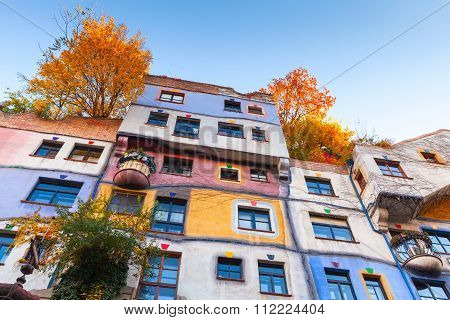 Hundertwasser House, Colorful Wall, Vienna  City