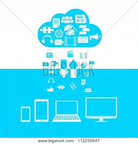 Vector illustration on the theme of cloud technologies