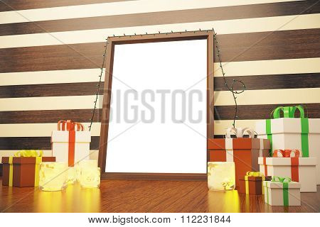 Blank White Picture Frame With Gift Boxes And Candlesticks On Wooden Floor, Mock Up