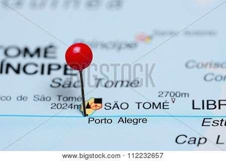 Porto Alegre pinned on a map of Africa