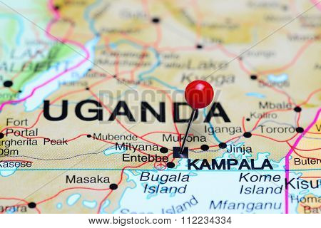 Kampala pinned on a map of Africa