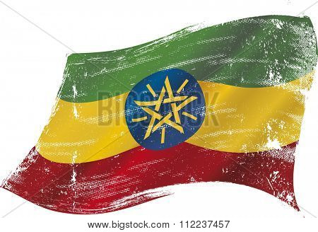 Ethiopian grunge flag. A grunge flag of Ethiopia in the wind flag for you