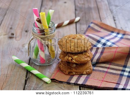 Striped Wafer Stick In The Bottle With Cookie