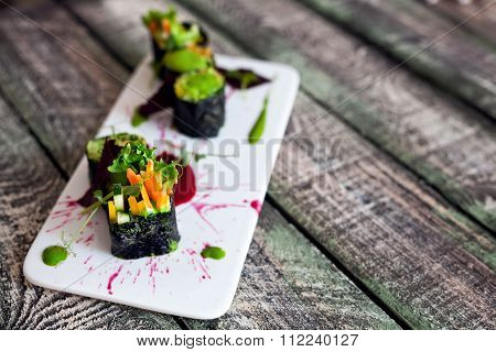 Raw Vegan Sushi Rolls With Vegetables