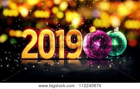 2019 Baubles Gold Beautiful Bokeh Winter 3D