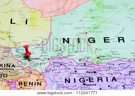 Niamey pinned on a map of Africa