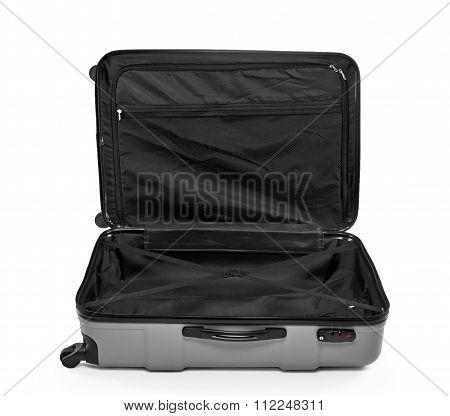 grey suitcase opened
