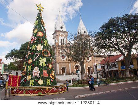 LOJA ECUADOR - NOVEMBER 29 2015: Christmas tree in the center of town on 29 November 2015 in Loja Ec