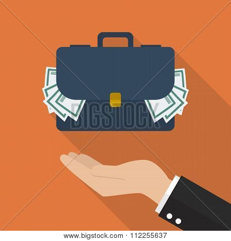 Hand With Briefcase Full Of Money