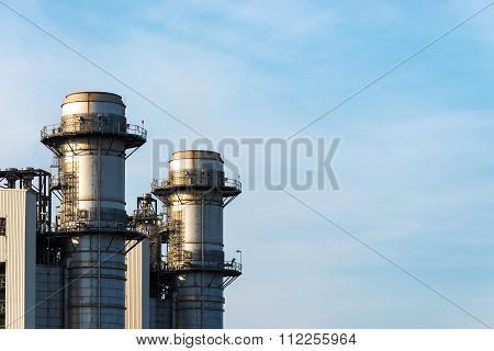 Industrial power plant, power and fuel industry background.