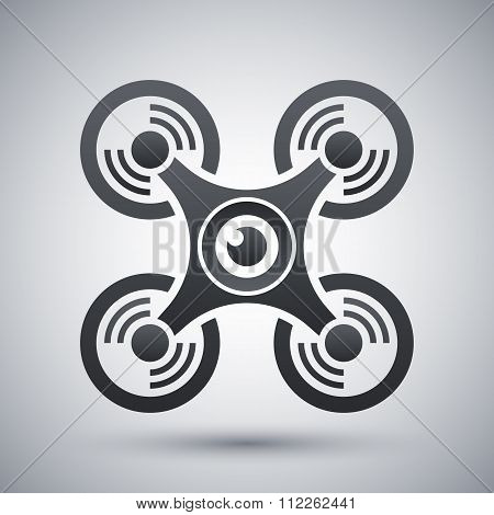 Vector quadcopter with camera icon on a gray background with a shadow poster