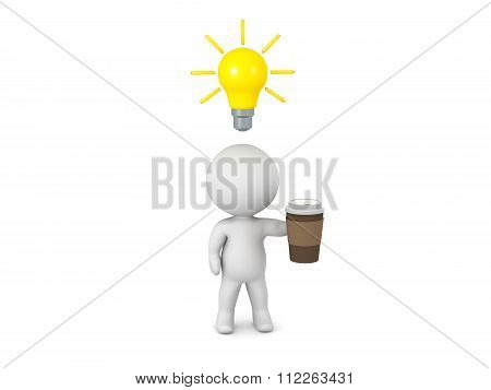 3D Character With Cup Of Coffee And Light Bulb Idea
