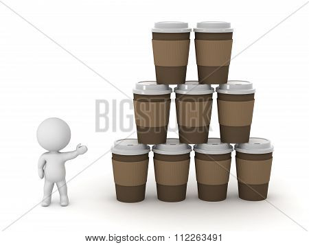 3D Character Showing Stacks Of Coffee Cups