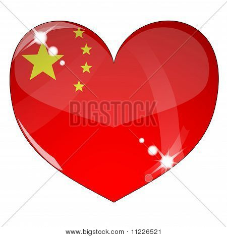 Vector heart with China flag texture