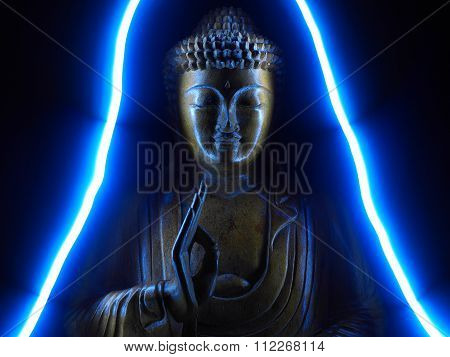 Buddha in Blue Neon
