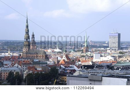 Riga. The Top View On The Old City.