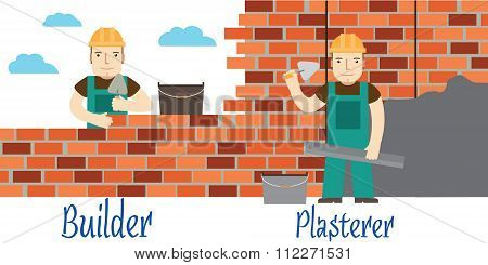 Plasterer And Masons At Work. Vector.