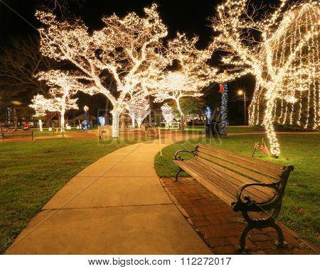 empty park bench at night