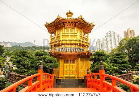 Beautiful Golden Pagoda Chinese Style Architecture In Nan Lian Garden, Hong Kong