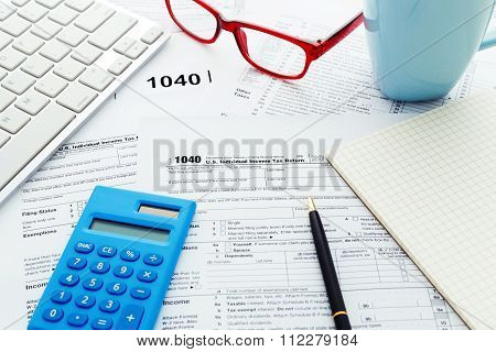 Tax Return Form With Computer Keyboard