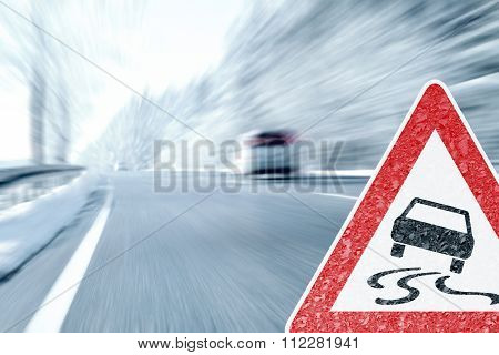 Winter Driving - Caution Ice and Snow