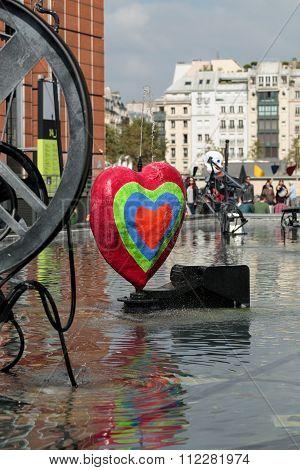 PARIS, FRANCE - SEPTEMBER 11, 2014: Stravinsky Fountain in Paris near the Arts Centre Pompidou
