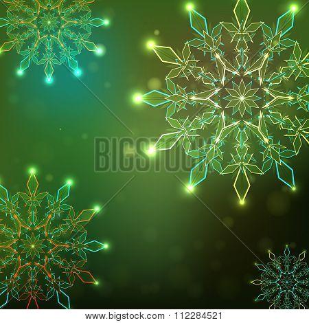 Burning Snowflakes, Green Fon.vektor