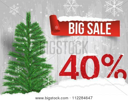Winter Sale 40 Percent. Winter Sale Background With Red Ribbon Banner And Snow. Sale. Winter Sale. C