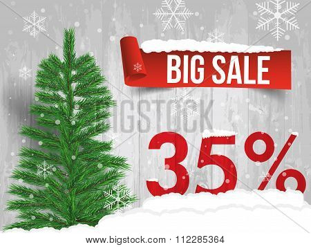 Winter Sale 35 Percent. Winter Sale Background With Red Ribbon Banner And Snow. Sale. Winter Sale. C