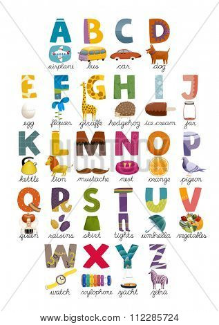 The ABC set of letters and associated pictures. Perfect for postcards and interior decoration.