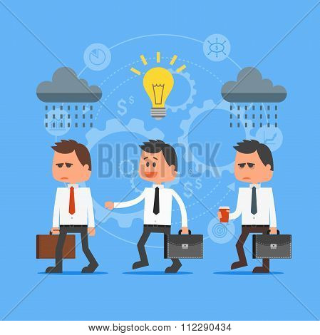 Cartoon businessman with idea outstanding from crowd. Vector concept illustration in flat design. Cr